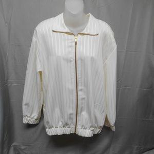 Sport Savvy zip cream light weight jacket M